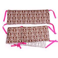 Bacati - Floral Damask Crib Bumper, Pink/Chocolate