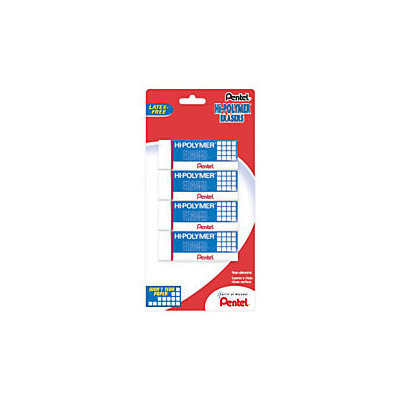 Pentel(R) Hi-Polymer Erasers, White, Pack Of 4