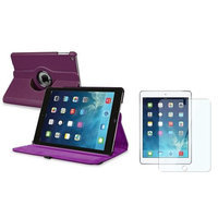 Insten INSTEN Purple 360 Rotating Leather Case Cover+Screen Guard For Apple iPad Air 5 5th Gen