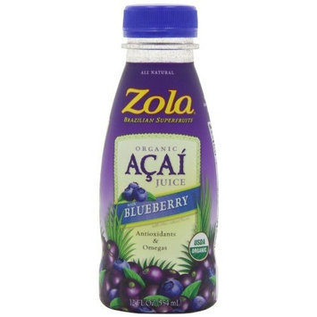 Zola Brazilian Superfruits Acai Juice with Blueberry, 12-Ounce Bottles (Pack of 12)