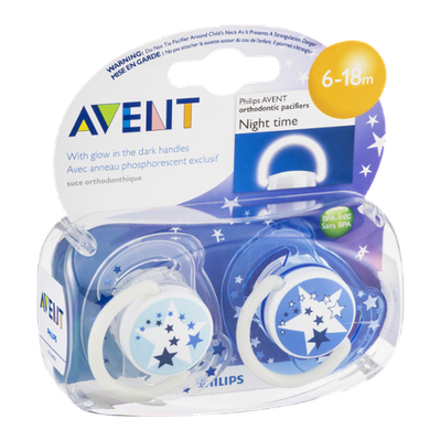 Avent Orthodonic Pacifiers 6-18m Night Time - 2 CT