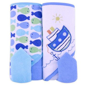 Triboro Quilt Mfg. Corp. Cuddletime 4 Piece Baby Bath Towel Set Boat & Fish - TRIBORO QUILT MFG. CORP.