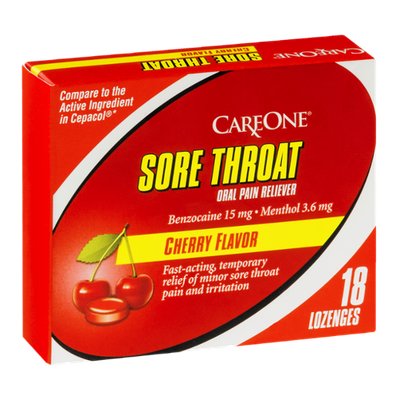 CareOne Sore Throat Oral Pain Reliever Lozenges Cherry - 18 CT