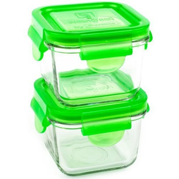 Wean Green Snack Cubes 7oz/210ml Baby Food Glass Containers - Pea (Set of 2)