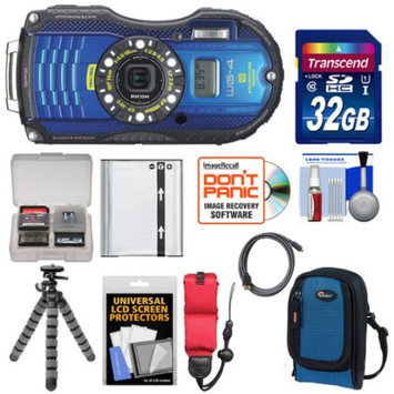 Ricoh WG-4 Shock & Waterproof GPS Digital Camera (Blue) with 32GB Card + Battery + Case + Floating Strap + Tripod + Accessory Kit