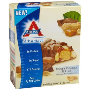 Atkins Advantage Caramel Chocolate Nut Roll, 5-Count Bars (Pack of 2)