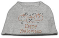 Mirage Pet Products 521301 LGGY Happy Halloween Rhinestone Shirts Grey L 14