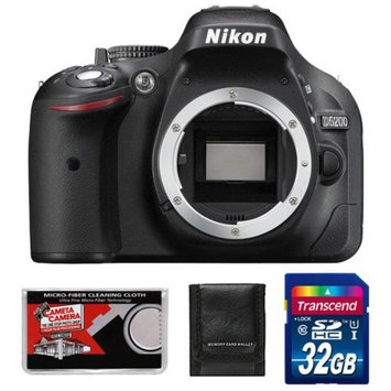 Nikon D5200 Digital SLR Camera Body (Black) - Factory Refurbished with 32GB Card + Accessory Kit