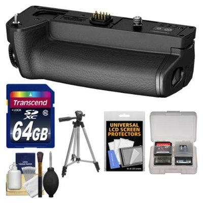 Olympus HLD-7 Power Battery Holder Grip for OM-D E-M1 Digital Camera with 64GB Card + Tripod + Accessory Kit