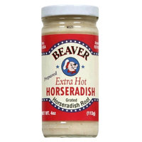 Beaver Brand Extra Hot Horseradish 4 oz glass jar