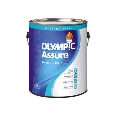 Olympic Icon Interior Satin Tintable White Latex-Base Paint and Primer in One (Actual Net Contents: 124-fl oz) 74801A01