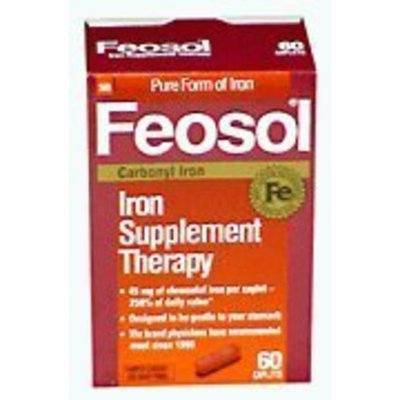 Ecotrin Feosol Iron Supplement Therapy, Carbonyl Iron, 45mg, 75-Count