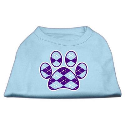 Mirage Pet Products 51-114 XLBBL Argyle Paw Purple Screen Print Shirt Baby Blue XL - 16