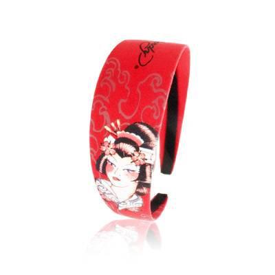 Christian Audigier Ed Hardy Geisha Red Headband 1 3/4 Inch