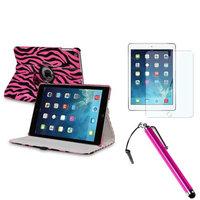 Insten INSTEN Pink/Black Zebra 360 Leather Case Cover+Protector+Pen For Apple iPad Air 5 5th Gen