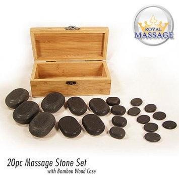 Royal Massage 20pc Massage Basalt Stone Set w/Bamboo Case