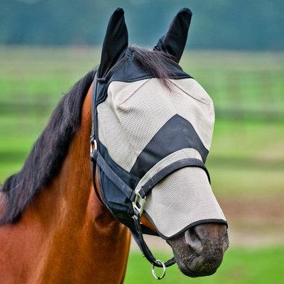 HorZe Flyhood W Nose Part Pony Light Brown/Black