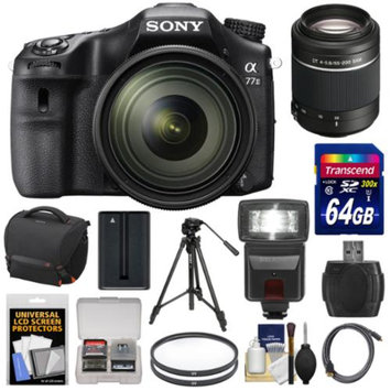 Sony Alpha A77 II Wi-Fi Digital SLR Camera & 16-50mm Lens with 55-200mm Lens + 64GB Card + Battery + Case + Tripod + Flash + Filters + Kit