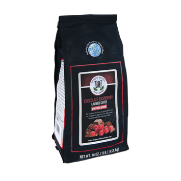 Unique Coffee Roasters Chocolate Raspberry Flavored Precision Ground Coffee