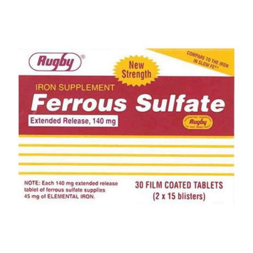 Rugby Ferrous Sulfate Extended-Release 140Mg Iron Tablets - 30 Ea