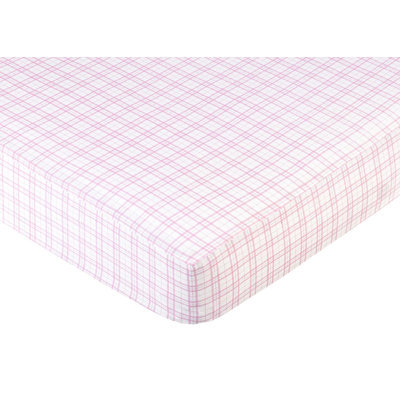 Sweet Jojo Designs Teddy Bear Pink Collection Fitted Crib Sheet - Plaid Print