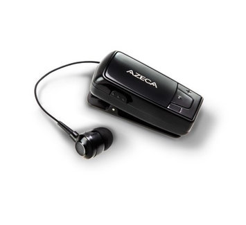 Azeca [Black] Universal Retractable Bluetooth Headset w/ Lanyard, Pocket Case, & USB Charging Cable, AZM04