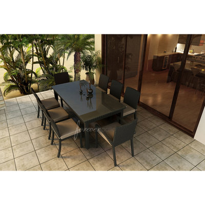 A & D Creations Barbados 9pc Patio Dining Set featuring Sunbrella® Fabric in Spectrum Mushroom