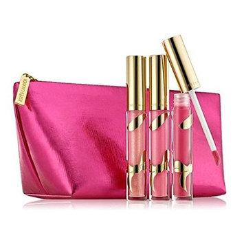 Estée Lauder Pure Color Brillantes LipGloss Trio (04-Brazen Berry (Shine Gloss), 21-Pink Innocence (Shimmer Gloss), 26-Extravagant Pink (Shimmer Gloss)) + Cosmetic Bag