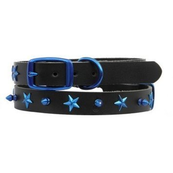 Platinum Pets LC10/15INMIX Genuine Leather Cat and Puppy Collar with Spikes and Stars Size: 15