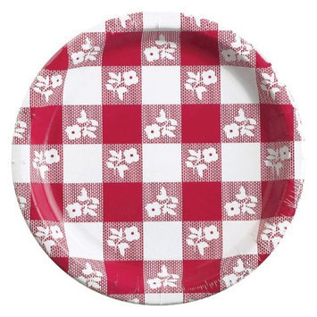 Converting Paper Plate, 7, Red Gingham, 12 Packs of 25 Plates
