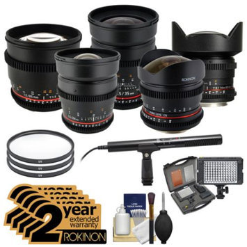 Rokinon Cine Lens Bundle with 8mm T/3.8, 14mm T/3.1, 16mm T/2.2, 24mm, 35mm & 85mm T/1.5 + 2 Year Ext Warranties + Video Light + Pro Mic + Filters Kit for Nikon DSLR Cameras