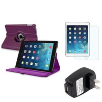Insten INSTEN Purple 360 Rotating PU Leather Case Cover+Protector+Charger For Apple iPad Air 5 5th