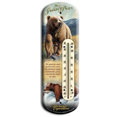 American Expedition Grizzly Bear Tin Back Porch Thermometer BTHM-117