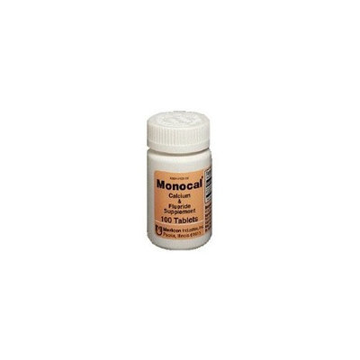 Monocal Tablets Monocal Calcium and Fluoride Mineral Supplements by Mericon Industries - 100 Tablets
