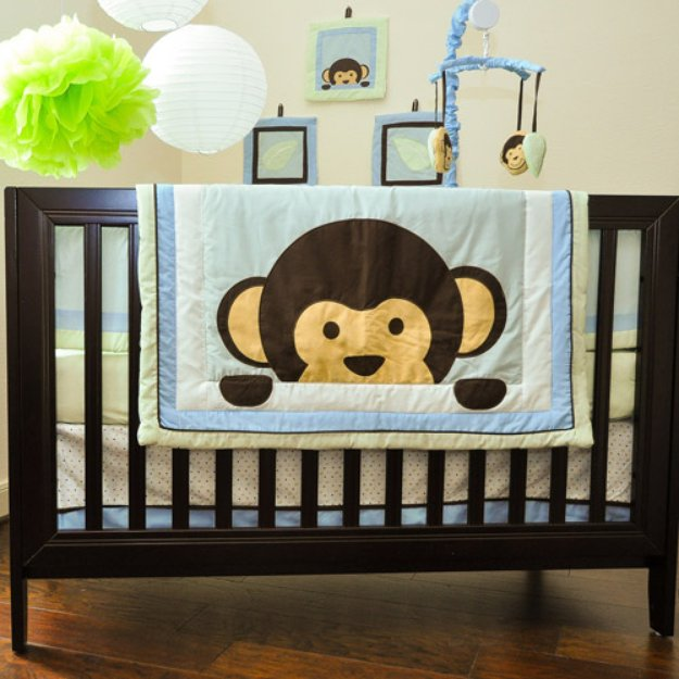 Pam Grace Creations Pam Grace Maddox Monkey 10pc Nursery in a Bag Crib Bedding Set
