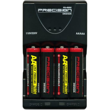 Precision Design (4) 2900mAh AA NiMH Batteries & 110/220V Multi-Voltage Rapid Charger
