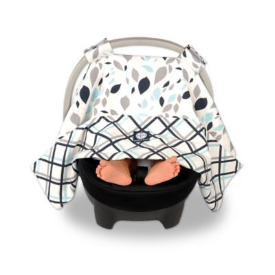 Balboa Baby Car Seat Canopy in Navy Leaves
