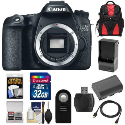 Canon EOS 70D Digital SLR Camera Body with 32GB Card + Battery & Charger + Backpack + Accessory Kit
