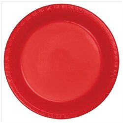 Classic Red Plastic Lunch Plate