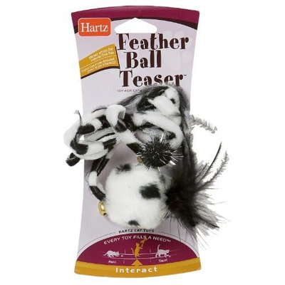 Hartz Feather Ball Teaser Cat Toy (Color May Vary)