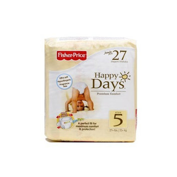 Fisher-Price Fisher Price Happy Days Ultra Soft Hypoallergenic Baby Diapers Jumbo Pack, Fragrance-Free, Size 5, 27 Count (Pack of 6)