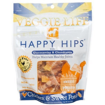 Dogswell Veggie Life Happy Hips Chicken & Sweet Potato Treats for Adult Dogs, 5-Ounce Pouches (Pack of 6)