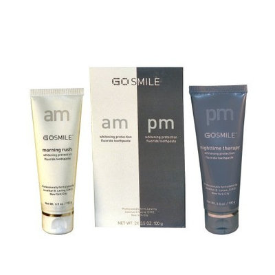 GoSMILE AM/PM Duo Pack - Whitening Maintenance Aromatherapy Fluoride Toothpaste 3.5 Ounces Each (100g)