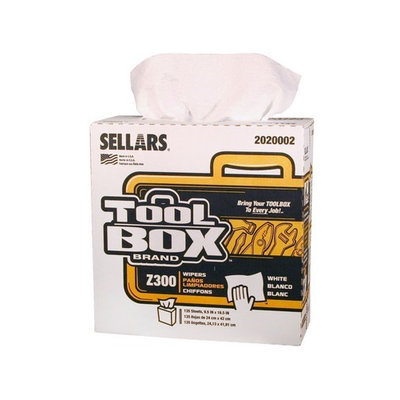 TOOLBOX Cleaning Wipes Z300 Interfold Wipers (135-Count; 8 Boxes/Case; 1,080 Sheets) Color: White 2020002