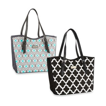 Fit & Fresh Perth Insulated Bag Black & White Ikat Tile - Fit & Fresh Travel Coolers