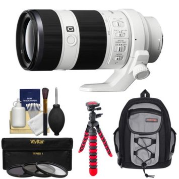 Sony Alpha E-Mount FE 70-200mm f/4.0 G OSS Zoom Lens with Backpack + 3 Filters + Flex Tripod + Kit for A7, A7R, A7S Digital Cameras