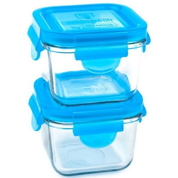 Wean Green Snack Cubes 7oz/210ml Baby Food Glass Containers - Blueberry (Set of 2)
