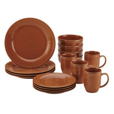 Rachael Ray Cucina 16 Piece Dinnerware Set - Orange