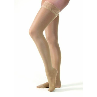 Jobst Women's Ultrasheer 20-30 mmHg Petite Thigh High Firm Support Sock with Lace Silicone Top Band Size: X-Large, Color: Suntan