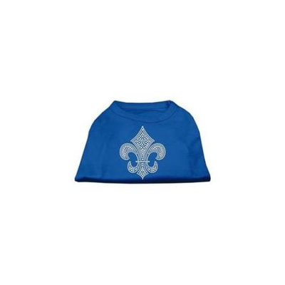 Ahi Silver Fleur de Lis Rhinestone Shirts Blue Sm (10)